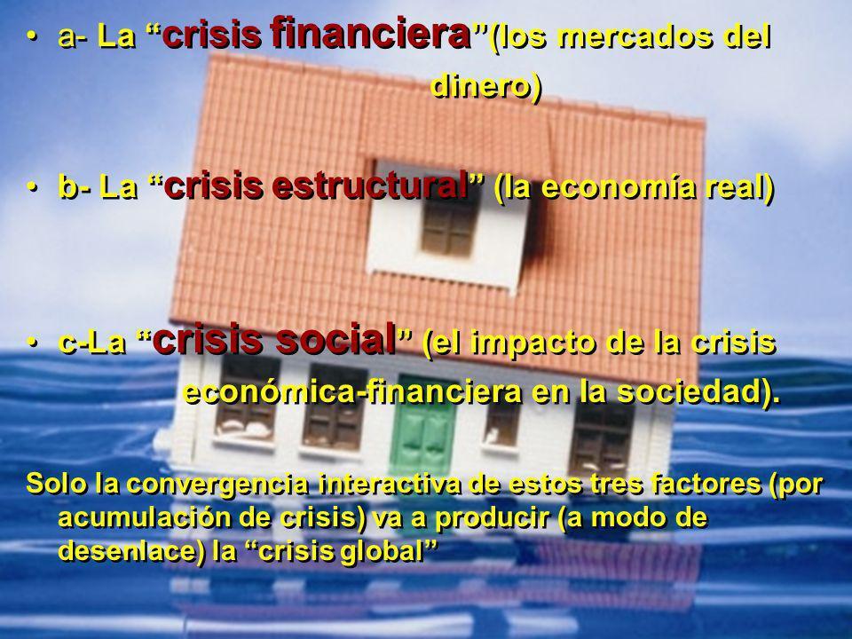a- La crisis financiera (los mercados del dinero) b- La crisis estructural (la economía real) c-La crisis social (el impacto de la crisis económica-fi