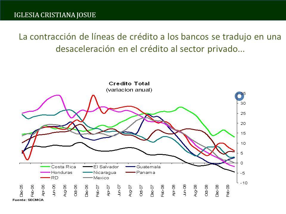 IGLESIA CRISTIANA JOSUE La contracción de líneas de crédito a los bancos se tradujo en una desaceleración en el crédito al sector privado...