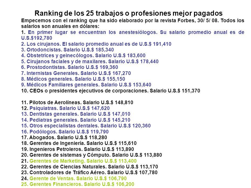 Ranking de los 25 trabajos o profesiones mejor pagados Empecemos con el ranking que ha sido elaborado por la revista Forbes, 30/ 5/ 08.