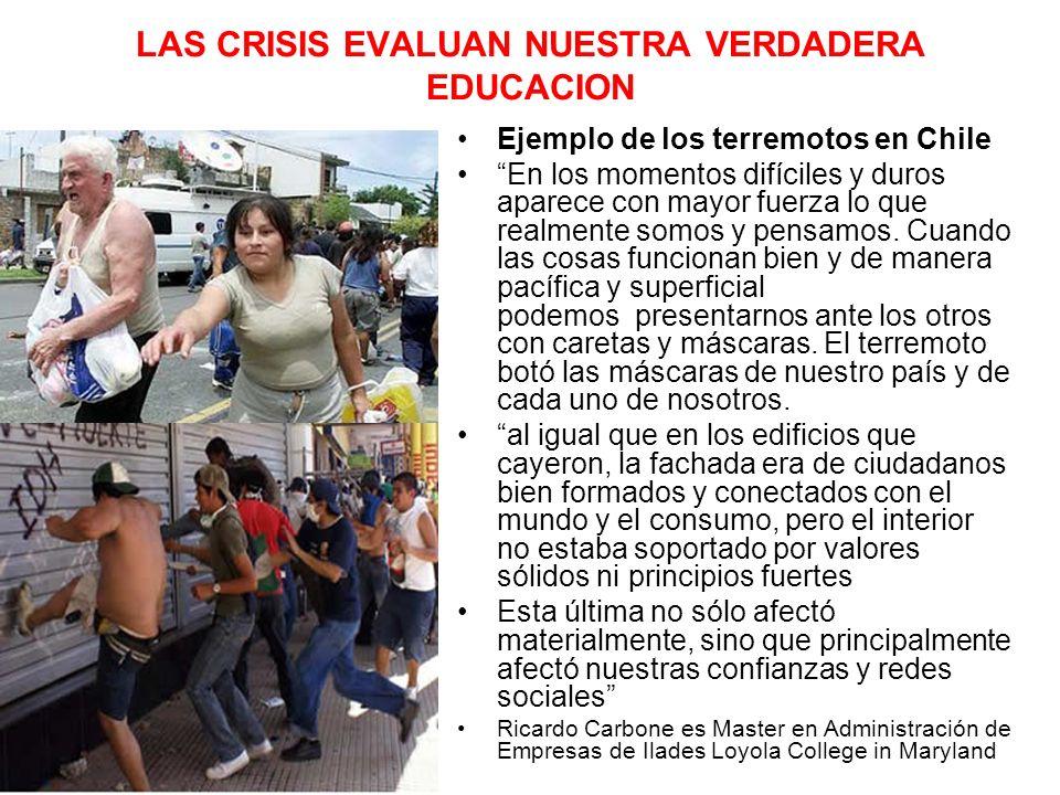 LAS CRISIS EVALUAN NUESTRA VERDADERA EDUCACION Ejemplo de los terremotos en Chile En los momentos difíciles y duros aparece con mayor fuerza lo que realmente somos y pensamos.