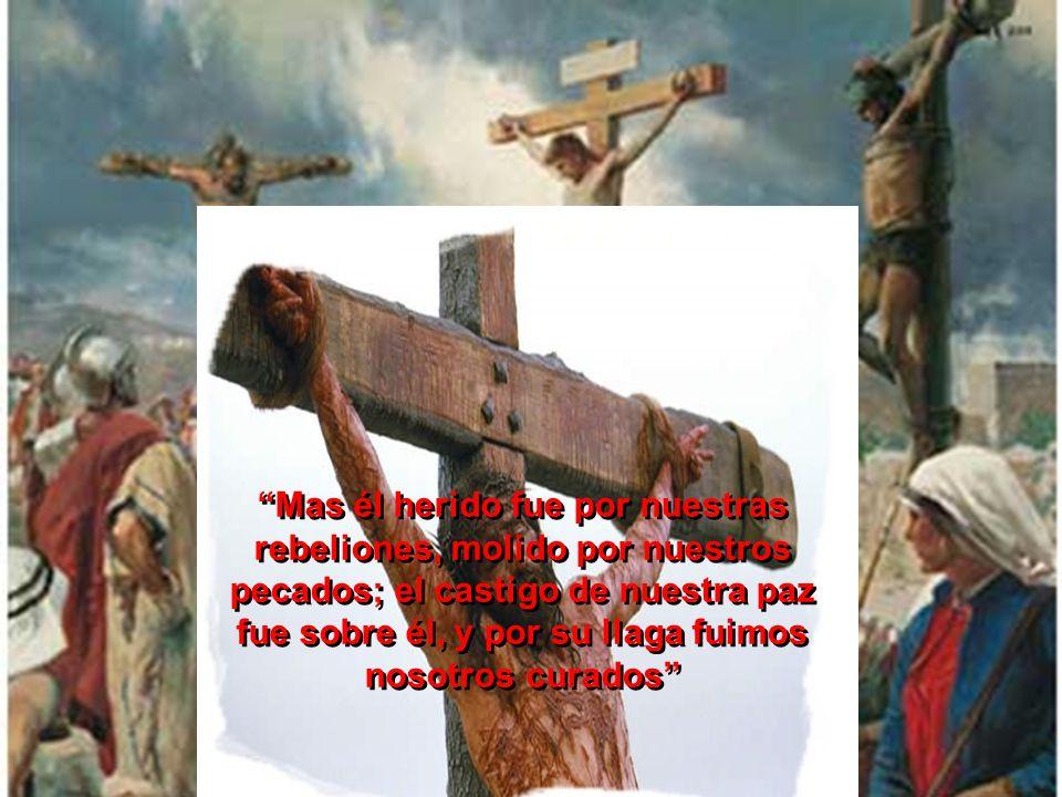 Mas él herido fue por nuestras rebeliones, molido por nuestros pecados; el castigo de nuestra paz fue sobre él, y por su llaga fuimos nosotros curados
