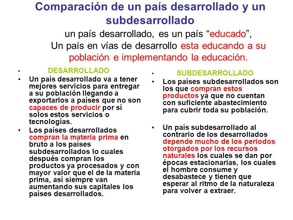 Comparación de un país desarrollado y un subdesarrollado DESARROLLADO Un país desarrollado va a tener mejores servicios para entregar a su población l