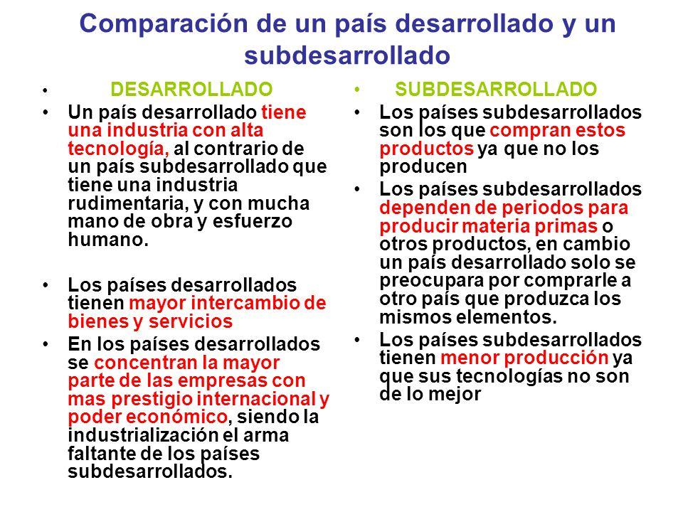 Comparación de un país desarrollado y un subdesarrollado DESARROLLADO Un país desarrollado tiene una industria con alta tecnología, al contrario de un país subdesarrollado que tiene una industria rudimentaria, y con mucha mano de obra y esfuerzo humano.