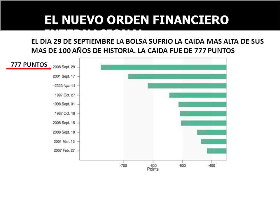 EL NUEVO ORDEN FINANCIERO INTERNACIONAL 777 PUNTOS EL DIA 29 DE SEPTIEMBRE LA BOLSA SUFRIO LA CAIDA MAS ALTA DE SUS MAS DE 100 AÑOS DE HISTORIA.