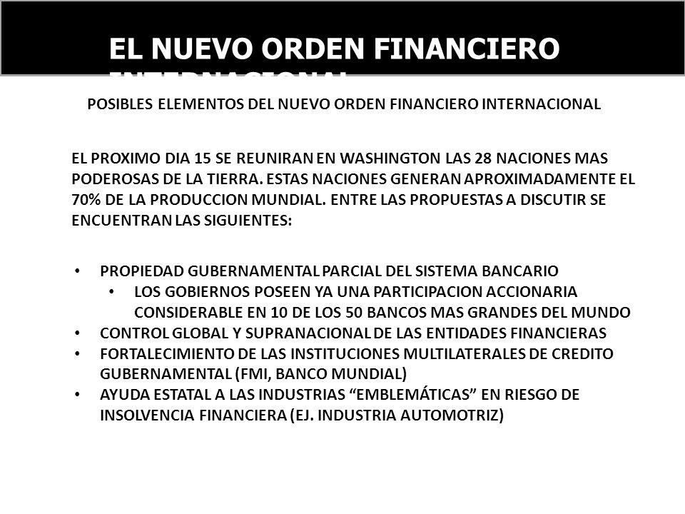 EL NUEVO ORDEN FINANCIERO INTERNACIONAL POSIBLES ELEMENTOS DEL NUEVO ORDEN FINANCIERO INTERNACIONAL EL PROXIMO DIA 15 SE REUNIRAN EN WASHINGTON LAS 28 NACIONES MAS PODEROSAS DE LA TIERRA.