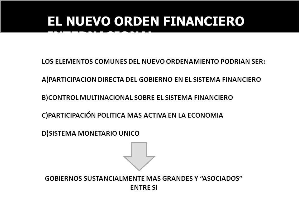 EL NUEVO ORDEN FINANCIERO INTERNACIONAL LOS ELEMENTOS COMUNES DEL NUEVO ORDENAMIENTO PODRIAN SER: A)PARTICIPACION DIRECTA DEL GOBIERNO EN EL SISTEMA FINANCIERO B)CONTROL MULTINACIONAL SOBRE EL SISTEMA FINANCIERO C)PARTICIPACIÓN POLITICA MAS ACTIVA EN LA ECONOMIA D)SISTEMA MONETARIO UNICO GOBIERNOS SUSTANCIALMENTE MAS GRANDES Y ASOCIADOS ENTRE SI