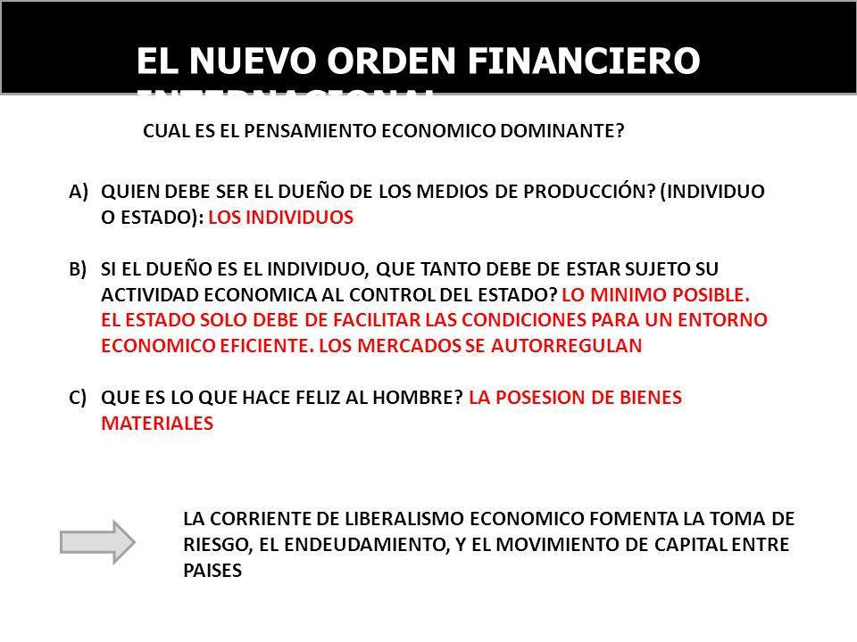 EL NUEVO ORDEN FINANCIERO INTERNACIONAL A)QUIEN DEBE SER EL DUEÑO DE LOS MEDIOS DE PRODUCCIÓN.