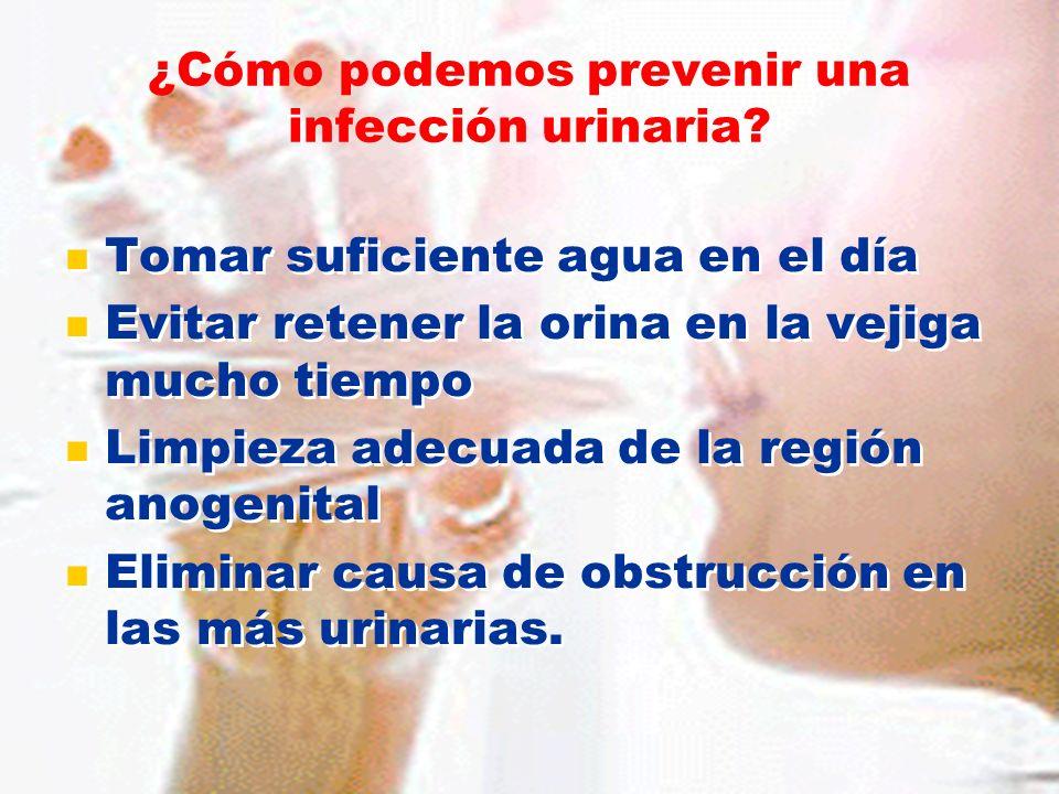 ¿Cómo podemos prevenir una infección urinaria? Tomar suficiente agua en el día Evitar retener la orina en la vejiga mucho tiempo Limpieza adecuada de