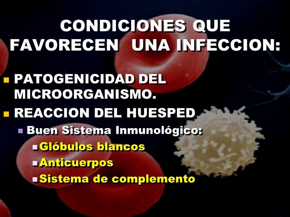 CONDICIONES QUE FAVORECEN UNA INFECCION: PATOGENICIDAD DEL MICROORGANISMO. PATOGENICIDAD DEL MICROORGANISMO. REACCION DEL HUESPED REACCION DEL HUESPED