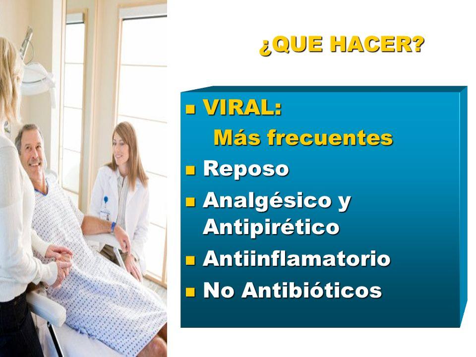 ¿QUE HACER? VIRAL: VIRAL: Más frecuentes Más frecuentes Reposo Reposo Analgésico y Antipirético Analgésico y Antipirético Antiinflamatorio Antiinflama
