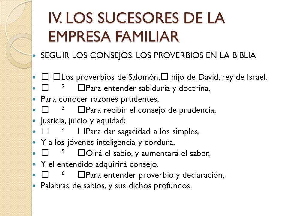 IV. LOS SUCESORES DE LA EMPRESA FAMILIAR SEGUIR LOS CONSEJOS: LOS PROVERBIOS EN LA BIBLIA 1 Los proverbios de Salomón, hijo de David, rey de Israel. 2