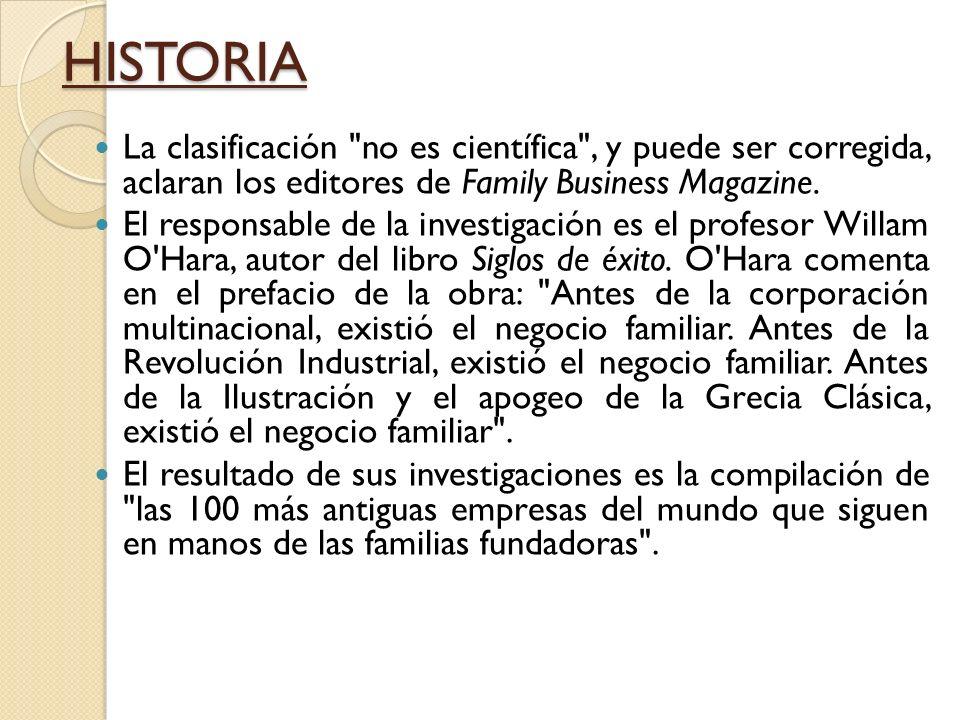 HISTORIA La clasificación no es científica , y puede ser corregida, aclaran los editores de Family Business Magazine.