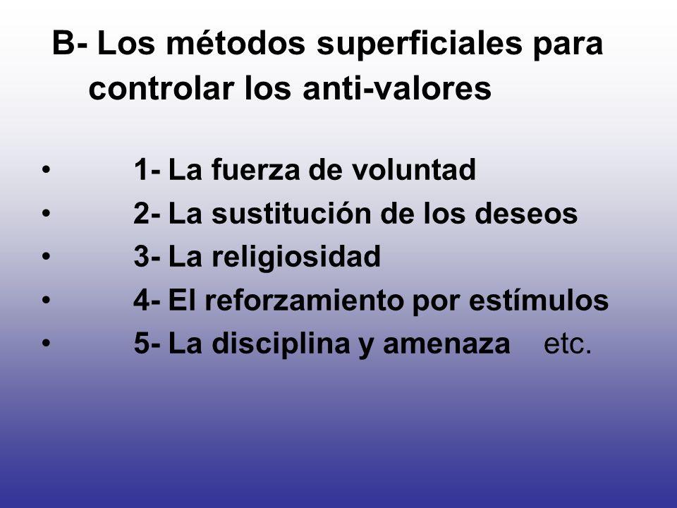 B- Los métodos superficiales para controlar los anti-valores 1- La fuerza de voluntad 2- La sustitución de los deseos 3- La religiosidad 4- El reforza
