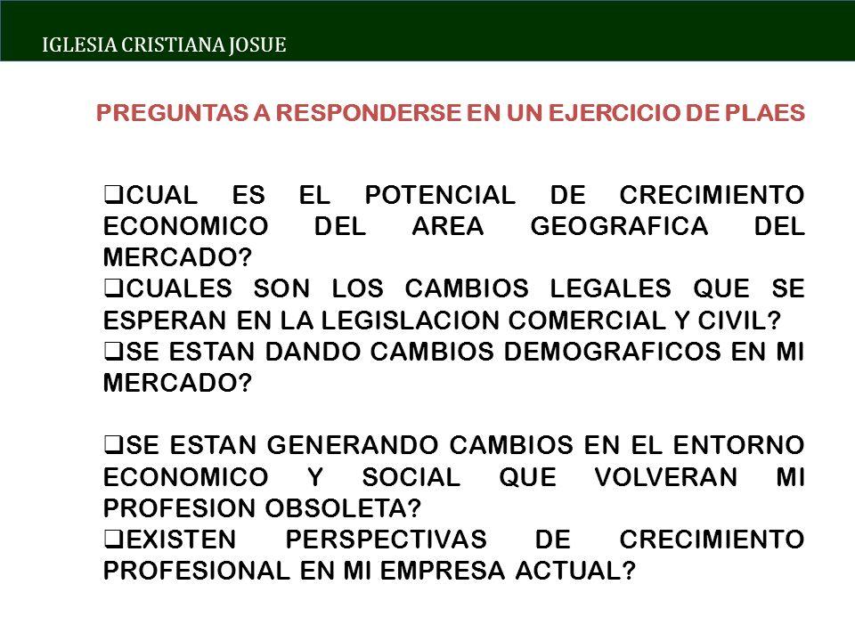 IGLESIA CRISTIANA JOSUE PREGUNTAS A RESPONDERSE EN UN EJERCICIO DE PLAES CUAL ES EL POTENCIAL DE CRECIMIENTO ECONOMICO DEL AREA GEOGRAFICA DEL MERCADO