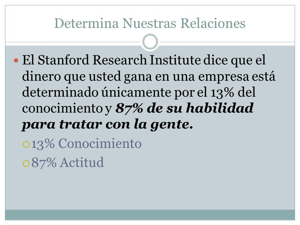 Determina Nuestras Relaciones El Stanford Research Institute dice que el dinero que usted gana en una empresa está determinado únicamente por el 13% d