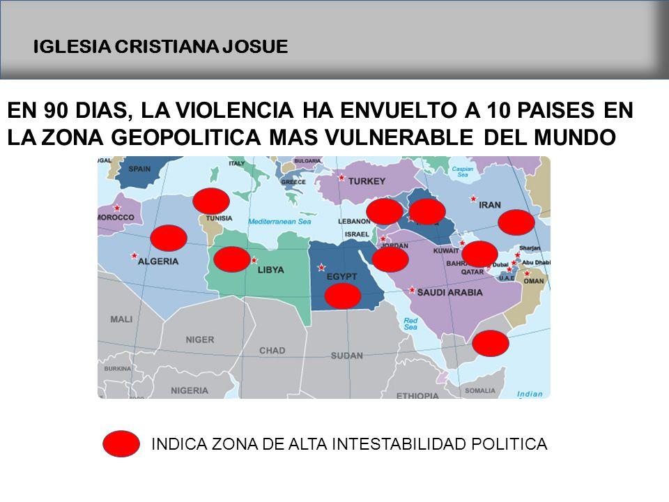 IGLESIA CRISTIANA JOSUE INDICA ZONA DE ALTA INTESTABILIDAD POLITICA EN 90 DIAS, LA VIOLENCIA HA ENVUELTO A 10 PAISES EN LA ZONA GEOPOLITICA MAS VULNERABLE DEL MUNDO