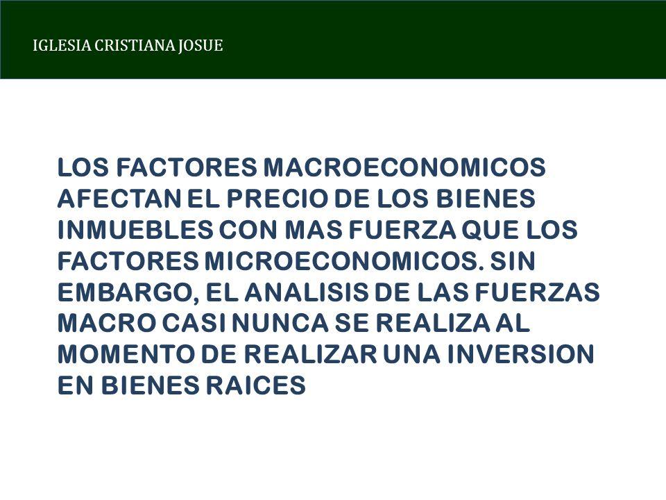 IGLESIA CRISTIANA JOSUE FACTOR 1: CRECIMIENTO ECONOMICO EL CRECIMIENTO DEL PIB TIENE UNA CORRELACION BASTANTE ALTA CON EL INCREMENTO DE LOS PRECIOS DE BIENES RAICES