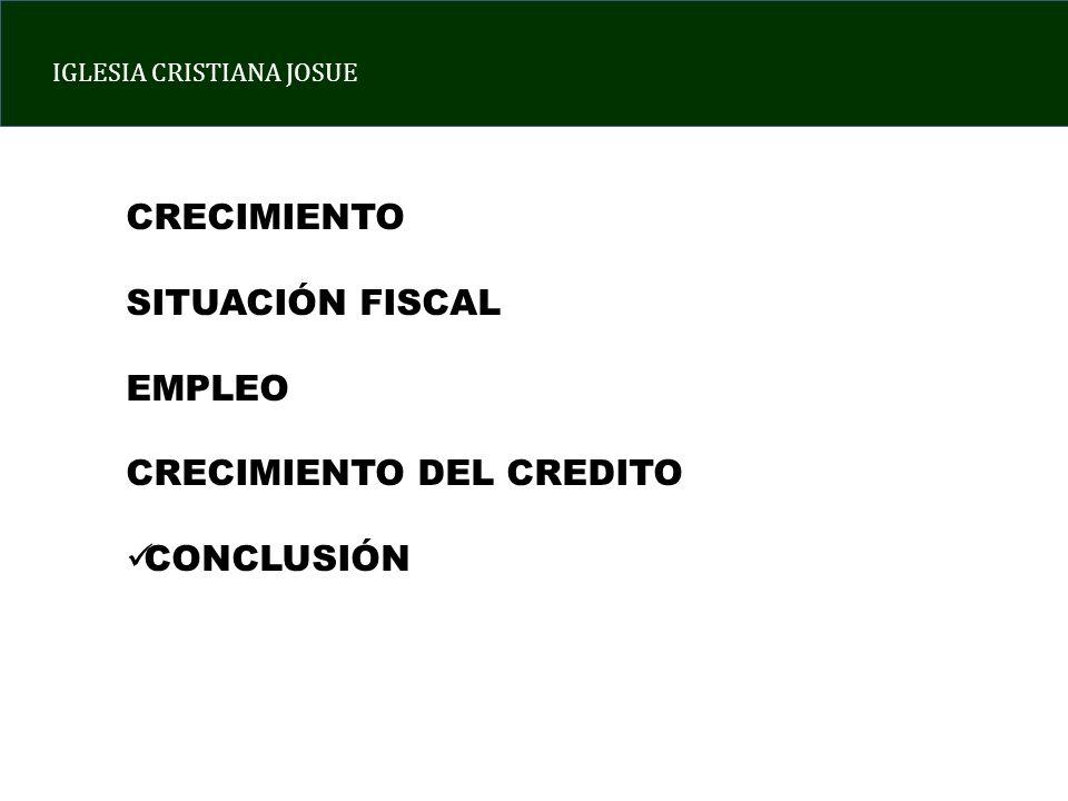 IGLESIA CRISTIANA JOSUE CRECIMIENTO SITUACIÓN FISCAL EMPLEO CRECIMIENTO DEL CREDITO CONCLUSIÓN