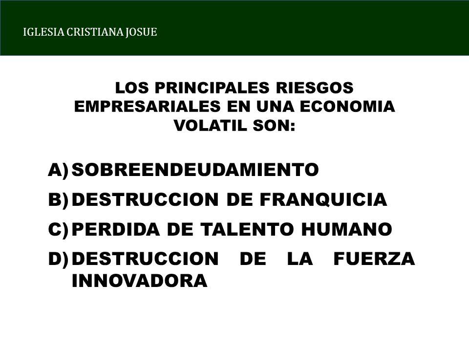 IGLESIA CRISTIANA JOSUE LOS PRINCIPALES RIESGOS EMPRESARIALES EN UNA ECONOMIA VOLATIL SON: A)SOBREENDEUDAMIENTO B)DESTRUCCION DE FRANQUICIA C)PERDIDA