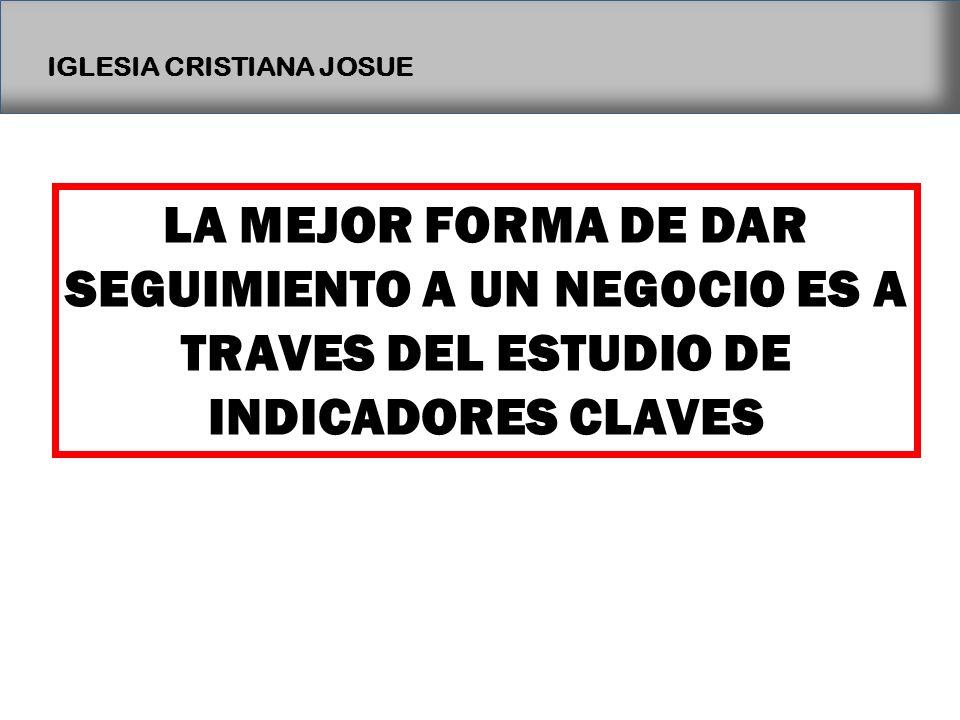IGLESIA CRISTIANA JOSUE LA MEJOR FORMA DE DAR SEGUIMIENTO A UN NEGOCIO ES A TRAVES DEL ESTUDIO DE INDICADORES CLAVES