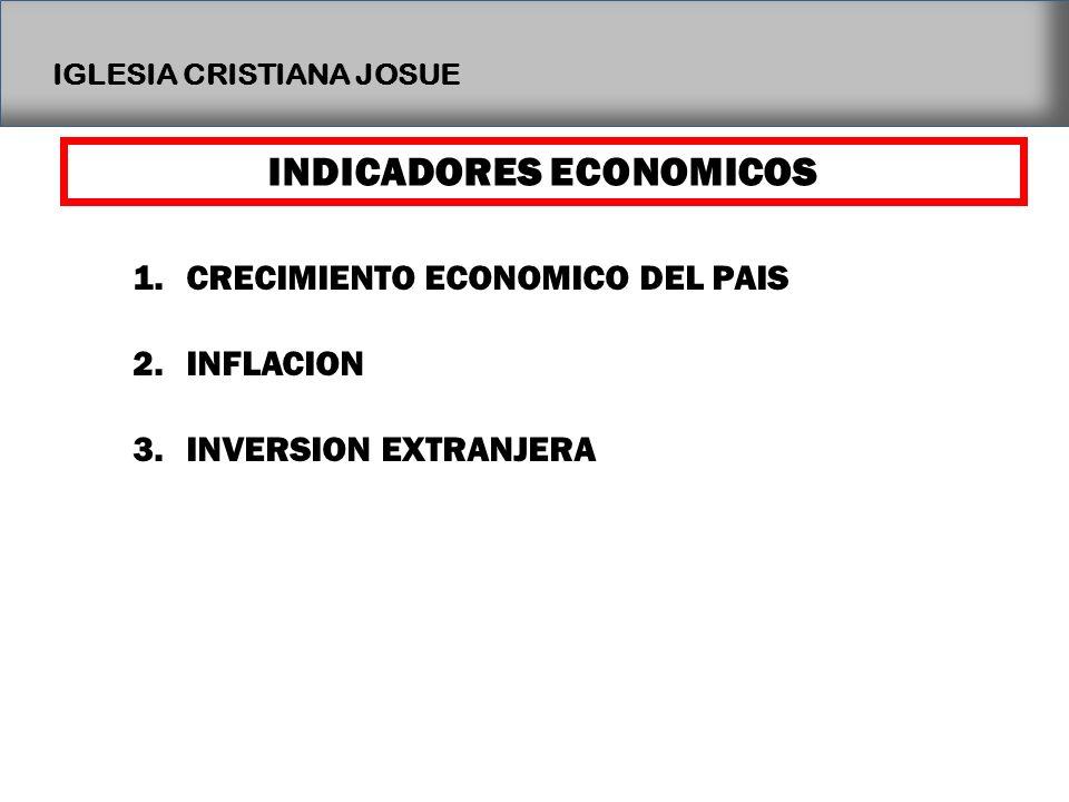IGLESIA CRISTIANA JOSUE INDICADORES ECONOMICOS 1.CRECIMIENTO ECONOMICO DEL PAIS 2.INFLACION 3.INVERSION EXTRANJERA