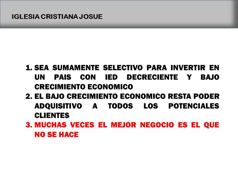 IGLESIA CRISTIANA JOSUE 1.SEA SUMAMENTE SELECTIVO PARA INVERTIR EN UN PAIS CON IED DECRECIENTE Y BAJO CRECIMIENTO ECONOMICO 2.EL BAJO CRECIMIENTO ECON