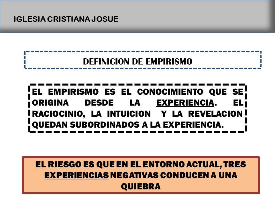 IGLESIA CRISTIANA JOSUE DEFINICION DE EMPIRISMO EL EMPIRISMO ES EL CONOCIMIENTO QUE SE ORIGINA DESDE LA EXPERIENCIA. EL RACIOCINIO, LA INTUICION Y LA