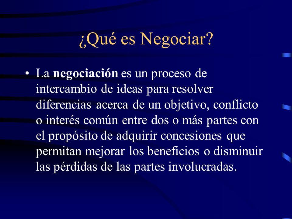¿Qué es Negociar? La negociación es un proceso de intercambio de ideas para resolver diferencias acerca de un objetivo, conflicto o interés común entr
