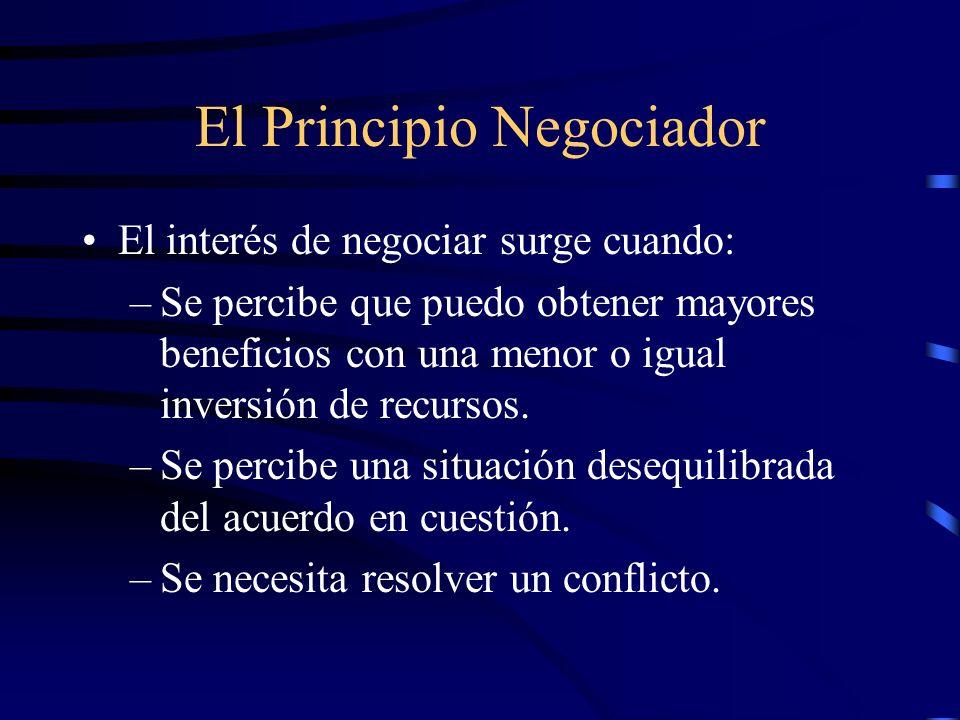 El Principio Negociador El interés de negociar surge cuando: –Se percibe que puedo obtener mayores beneficios con una menor o igual inversión de recur