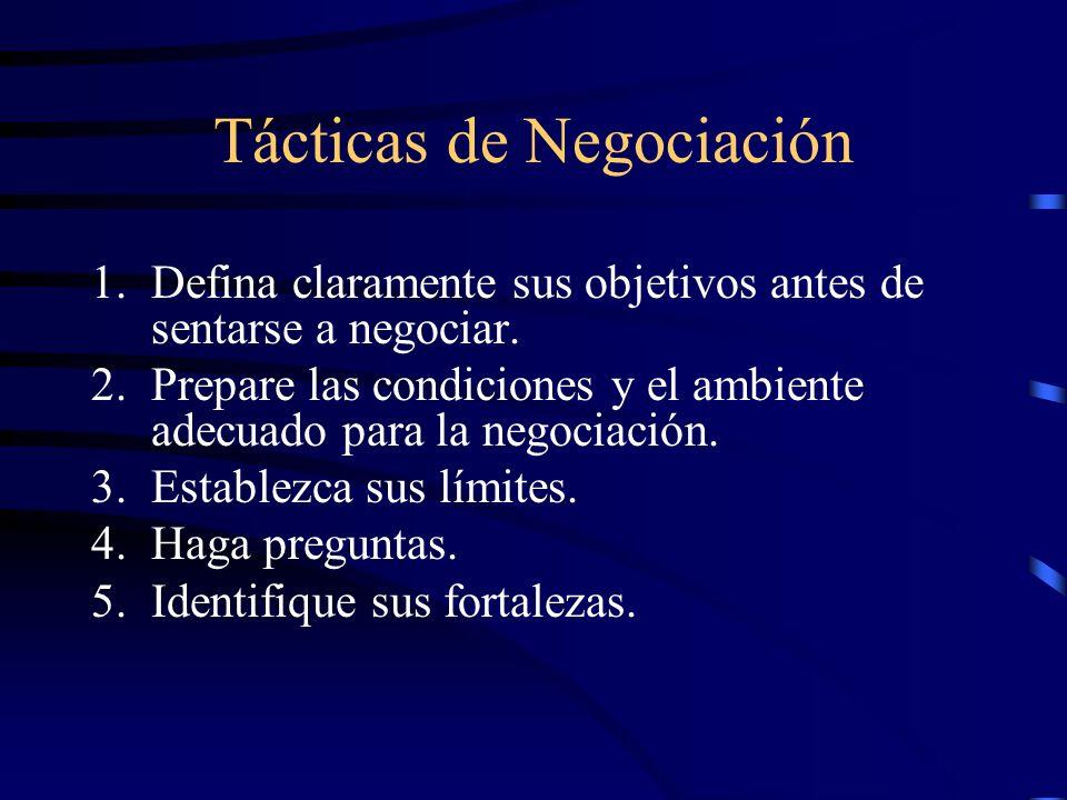 Tácticas de Negociación 1.Defina claramente sus objetivos antes de sentarse a negociar. 2.Prepare las condiciones y el ambiente adecuado para la negoc