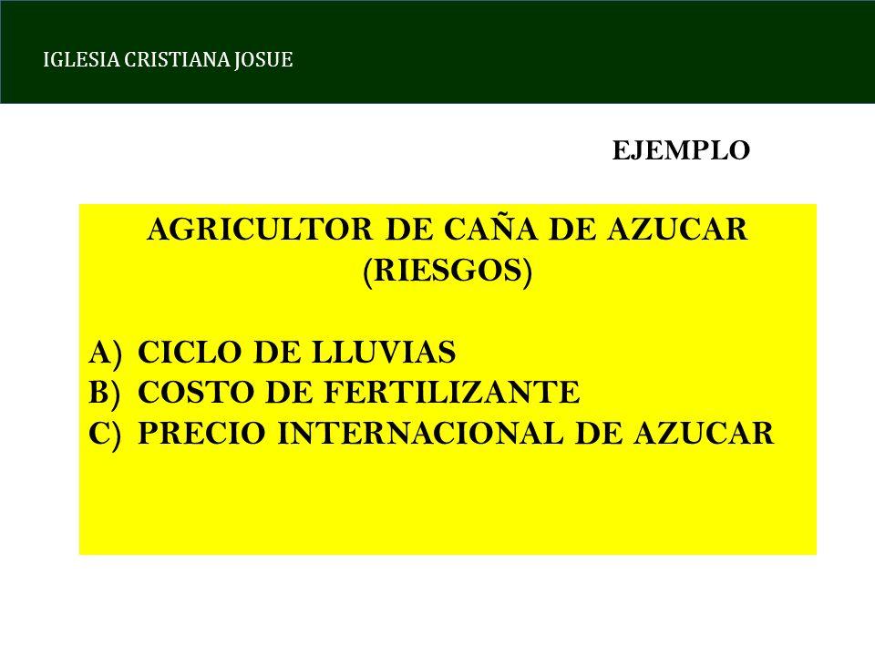 IGLESIA CRISTIANA JOSUE EJEMPLO AGRICULTOR DE CAÑA DE AZUCAR (RIESGOS) A)CICLO DE LLUVIAS B)COSTO DE FERTILIZANTE C)PRECIO INTERNACIONAL DE AZUCAR