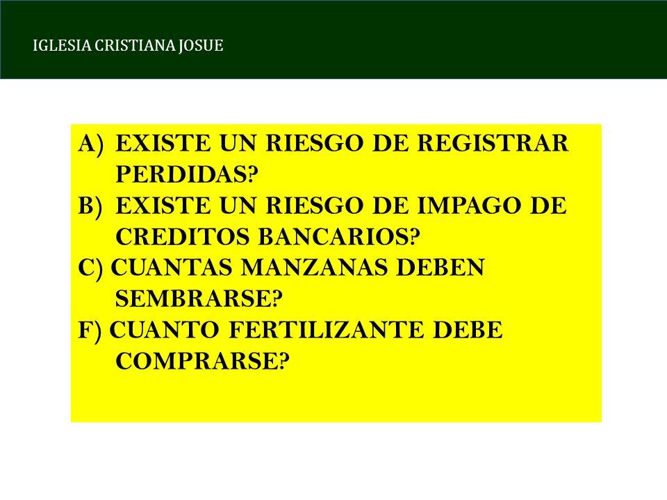 IGLESIA CRISTIANA JOSUE A)EXISTE UN RIESGO DE REGISTRAR PERDIDAS.