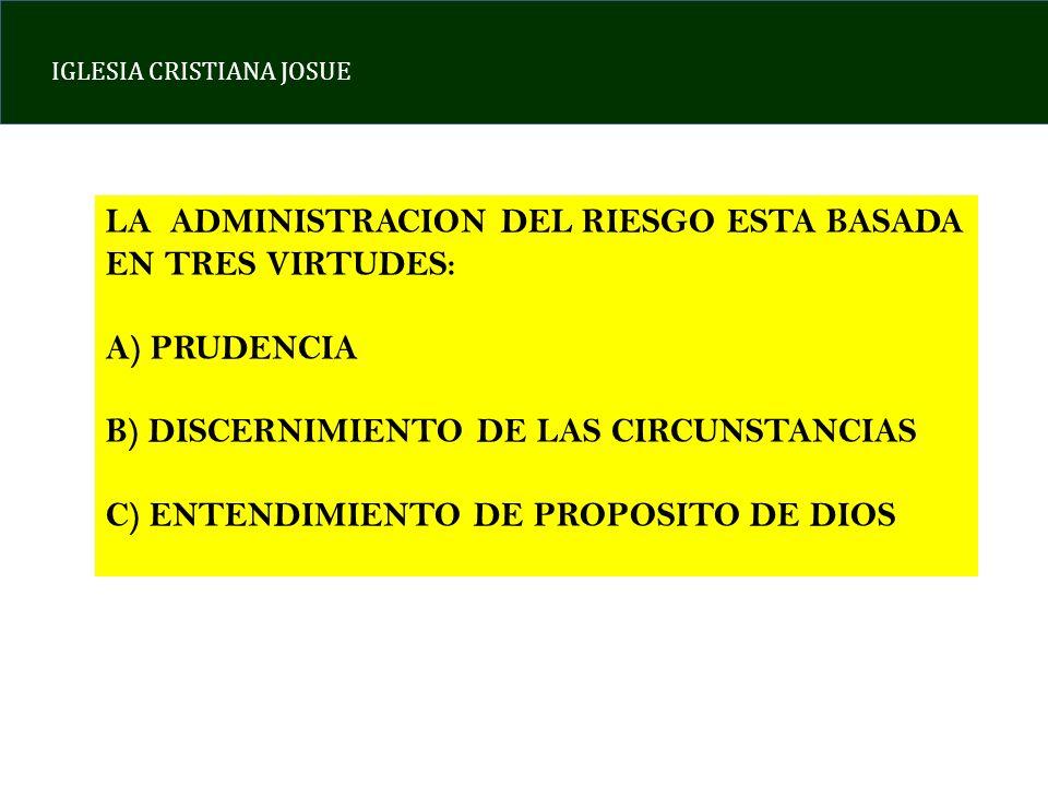 IGLESIA CRISTIANA JOSUE LA ADMINISTRACION DEL RIESGO ESTA BASADA EN TRES VIRTUDES: A) PRUDENCIA B) DISCERNIMIENTO DE LAS CIRCUNSTANCIAS C) ENTENDIMIENTO DE PROPOSITO DE DIOS