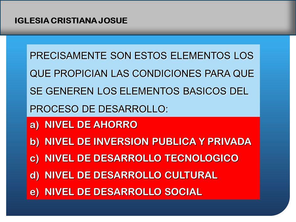 IGLESIA CRISTIANA JOSUE PRECISAMENTE SON ESTOS ELEMENTOS LOS QUE PROPICIAN LAS CONDICIONES PARA QUE SE GENEREN LOS ELEMENTOS BASICOS DEL PROCESO DE DESARROLLO: a)NIVEL DE AHORRO b)NIVEL DE INVERSION PUBLICA Y PRIVADA c)NIVEL DE DESARROLLO TECNOLOGICO d)NIVEL DE DESARROLLO CULTURAL e)NIVEL DE DESARROLLO SOCIAL