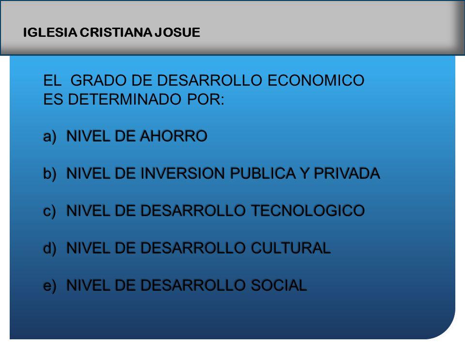 IGLESIA CRISTIANA JOSUE EL GRADO DE DESARROLLO ECONOMICO ES DETERMINADO POR: a)NIVEL DE AHORRO b)NIVEL DE INVERSION PUBLICA Y PRIVADA c)NIVEL DE DESARROLLO TECNOLOGICO d)NIVEL DE DESARROLLO CULTURAL e)NIVEL DE DESARROLLO SOCIAL