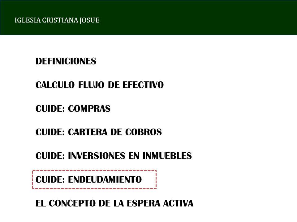 IGLESIA CRISTIANA JOSUE DEFINICIONES CALCULO FLUJO DE EFECTIVO CUIDE: COMPRAS CUIDE: CARTERA DE COBROS CUIDE: INVERSIONES EN INMUEBLES CUIDE: ENDEUDAM