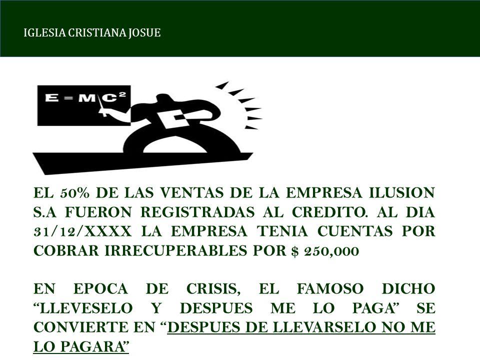IGLESIA CRISTIANA JOSUE EL 50% DE LAS VENTAS DE LA EMPRESA ILUSION S.A FUERON REGISTRADAS AL CREDITO. AL DIA 31/12/XXXX LA EMPRESA TENIA CUENTAS POR C