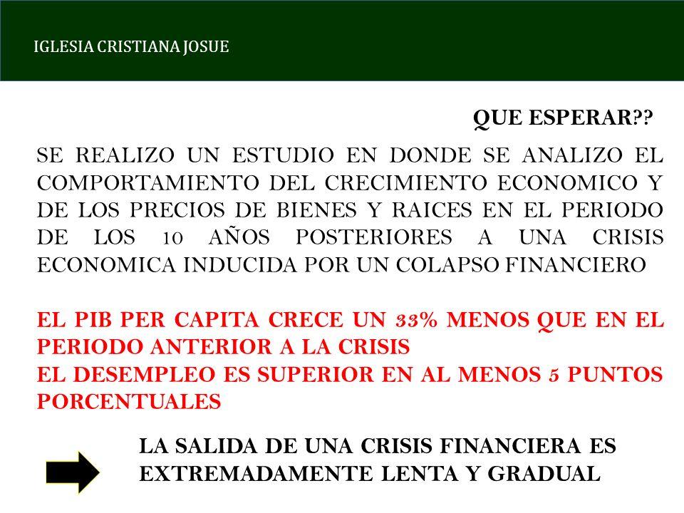 IGLESIA CRISTIANA JOSUE EN LAS CRISIS ECONOMICAS, LA PUERTA DE SALIDA ES CASI SIEMPRE LA MISMA DE ENTREDA.