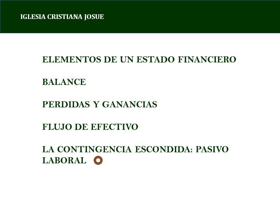 IGLESIA CRISTIANA JOSUE ELEMENTOS DE UN ESTADO FINANCIERO BALANCE PERDIDAS Y GANANCIAS FLUJO DE EFECTIVO LA CONTINGENCIA ESCONDIDA: PASIVO LABORAL