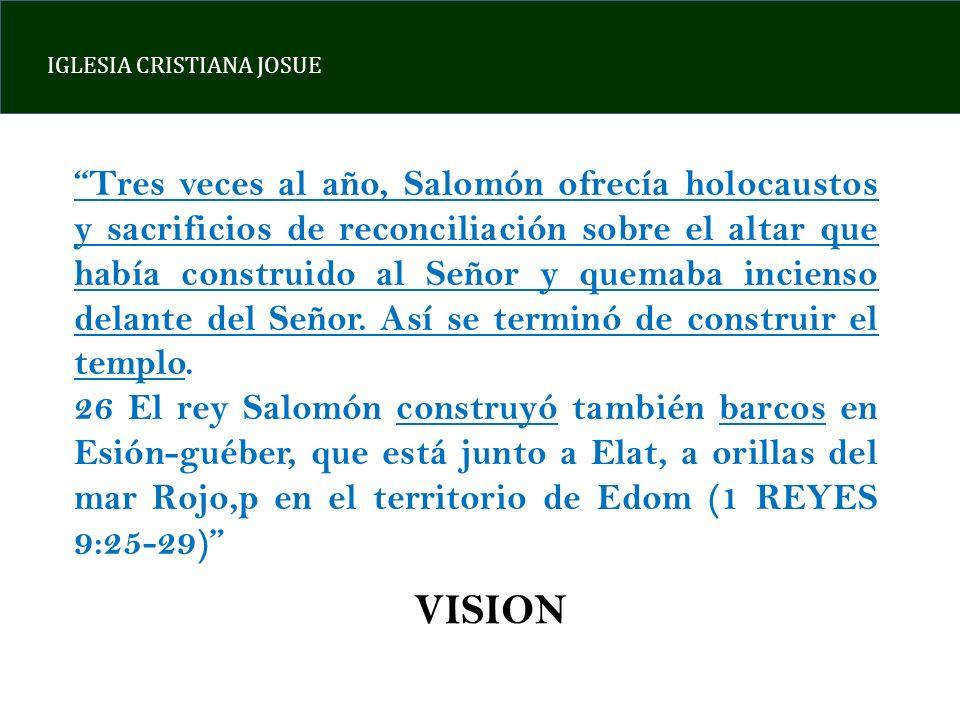 IGLESIA CRISTIANA JOSUE Tres veces al año, Salomón ofrecía holocaustos y sacrificios de reconciliación sobre el altar que había construido al Señor y