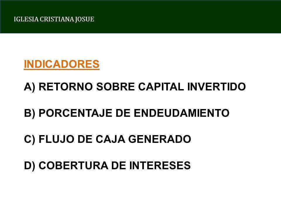 IGLESIA CRISTIANA JOSUE INDICADORES A) RETORNO SOBRE CAPITAL INVERTIDO B) PORCENTAJE DE ENDEUDAMIENTO C) FLUJO DE CAJA GENERADO D) COBERTURA DE INTERE