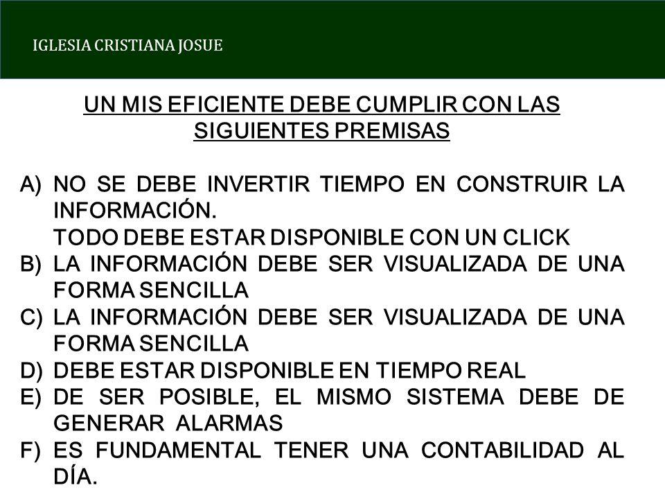 IGLESIA CRISTIANA JOSUE SISTEMA INFORMATIVO GERENCIAL COMO ELABORAR UN MIS EFICIENTE INDICADOR 1: VENTAS Y MERCADEO INDICADOR 2: ESTRUCTURA DE GASTOS Y COSTOS INDICADOR 3: EFICIENCIA Y PRODUCTIVIDAD INDICADOR 4: USO DE CAPITAL Y ENDEUDAMIENTO INDICADOR ESPIRITUAL: CRECIMIENTO EN LA VIDA DE FE