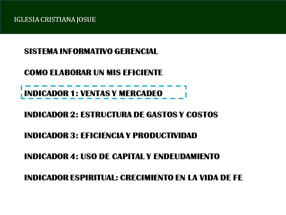 SISTEMA INFORMATIVO GERENCIAL COMO ELABORAR UN MIS EFICIENTE INDICADOR 1: VENTAS Y MERCADEO INDICADOR 2: ESTRUCTURA DE GASTOS Y COSTOS INDICADOR 3: EF