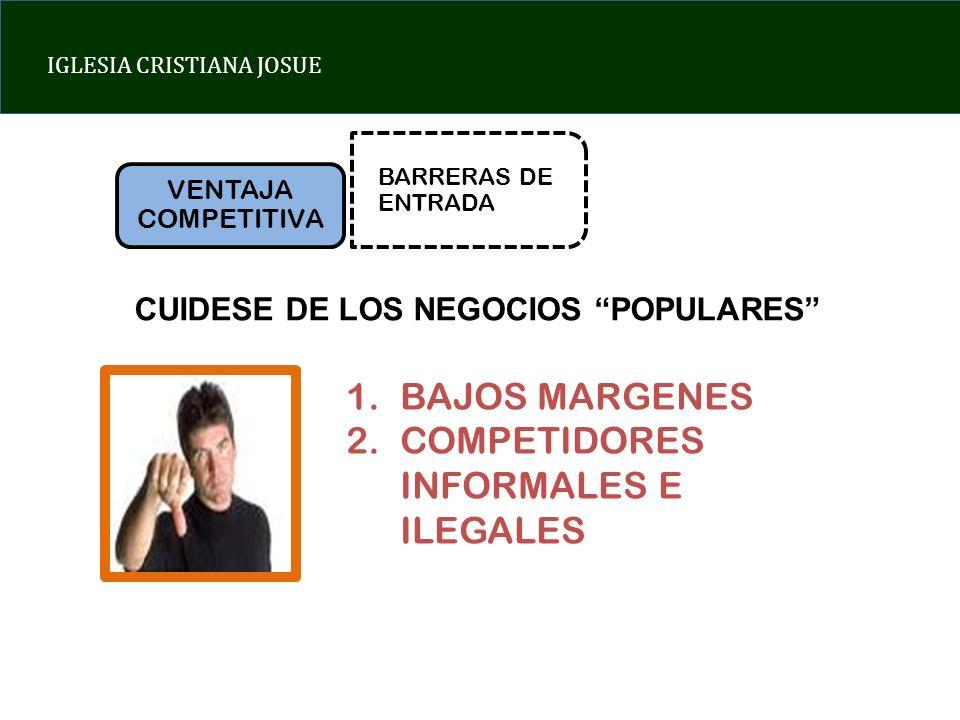 IGLESIA CRISTIANA JOSUE VENTAJA COMPETITIVA BARRERAS DE ENTRADA CUIDESE DE LOS NEGOCIOS POPULARES 1.BAJOS MARGENES 2.COMPETIDORES INFORMALES E ILEGALES