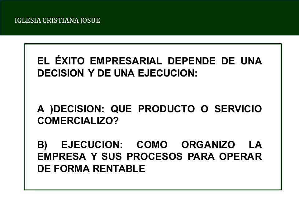 IGLESIA CRISTIANA JOSUE EL ÉXITO EMPRESARIAL DEPENDE DE UNA DECISION Y DE UNA EJECUCION: A )DECISION: QUE PRODUCTO O SERVICIO COMERCIALIZO.