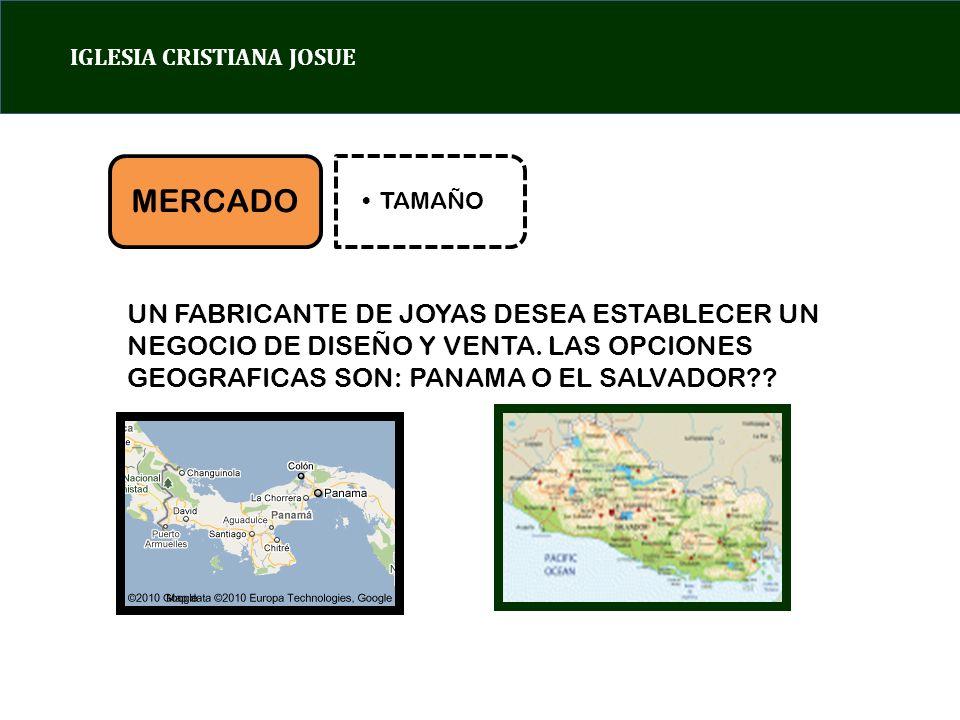 IGLESIA CRISTIANA JOSUE MERCADO TAMAÑO UN FABRICANTE DE JOYAS DESEA ESTABLECER UN NEGOCIO DE DISEÑO Y VENTA.