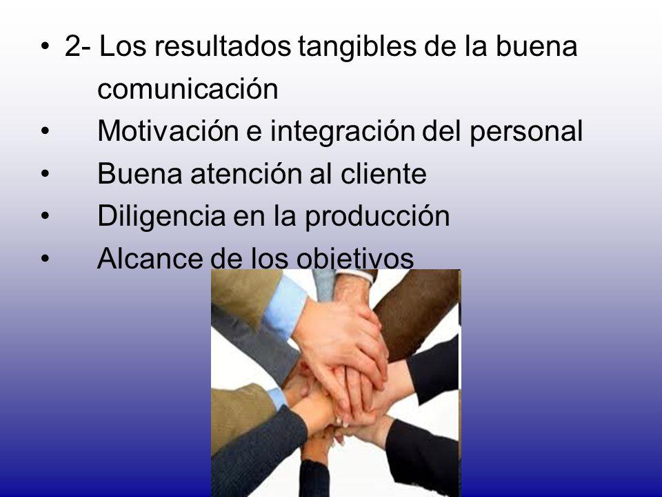 2- Los resultados tangibles de la buena comunicación Motivación e integración del personal Buena atención al cliente Diligencia en la producción Alcan