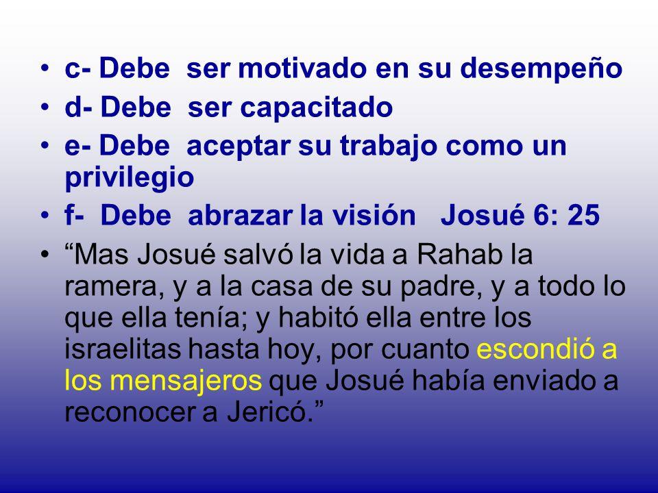 c- Debe ser motivado en su desempeño d- Debe ser capacitado e- Debe aceptar su trabajo como un privilegio f- Debe abrazar la visión Josué 6: 25 Mas Jo
