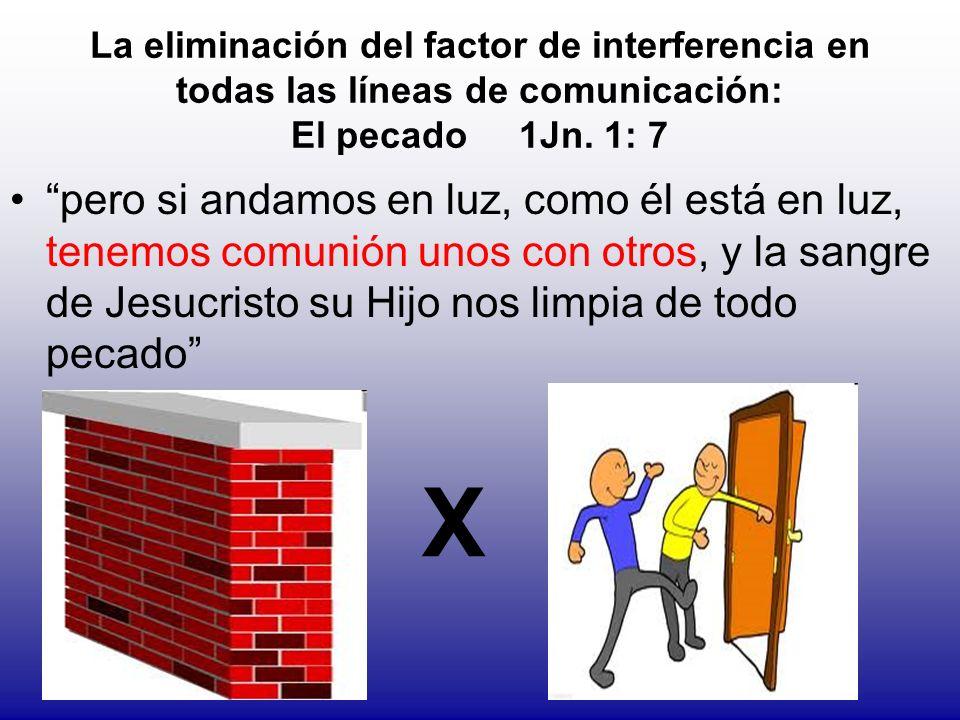 La eliminación del factor de interferencia en todas las líneas de comunicación: El pecado 1Jn. 1: 7 pero si andamos en luz, como él está en luz, tenem
