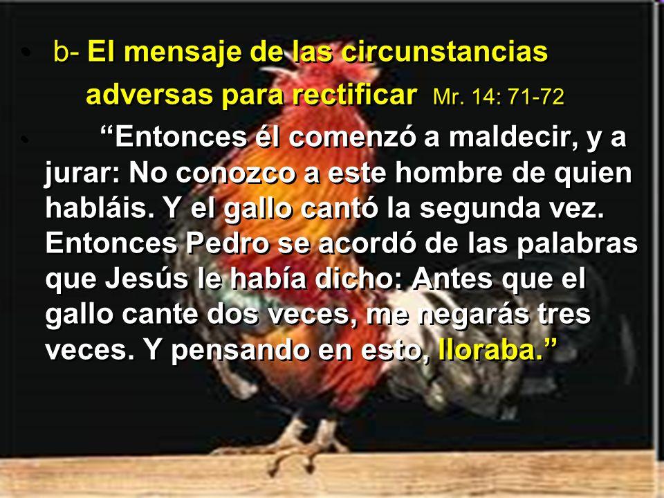 b- El mensaje de las circunstancias adversas para rectificar Mr. 14: 71-72 Entonces él comenzó a maldecir, y a jurar: No conozco a este hombre de quie